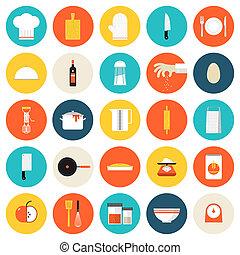 plano, iconos, utensillos de cocina, herramientas, cocina