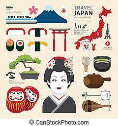 plano, iconos, viaje, concept.vector, diseño, japón