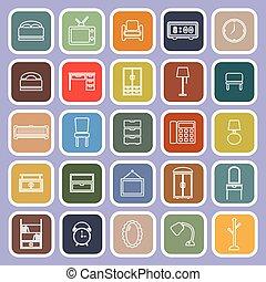 plano, iconos, violeta, plano de fondo, dormitorio, línea