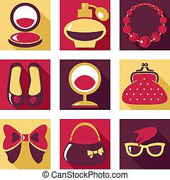 plano, icons., conjunto, de, mujer, moda, símbolos