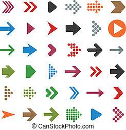 plano, icons., flecha