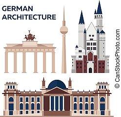 plano, illustration., alemán, moderno, architecture., vector...