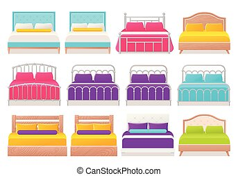 plano, illustration., cama, vector, design., caricatura, icono