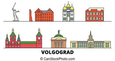 plano, illustration., ciudad, señales, famoso, vector,...