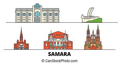 plano, illustration., ciudad, señales, samara, famoso,...