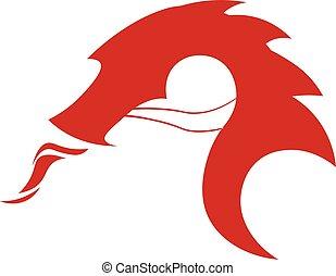 plano, illustration., dragón chino, dragon., vector, logo.