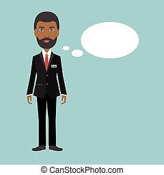 plano, illustration., empresa / negocio, negro, afro, ...