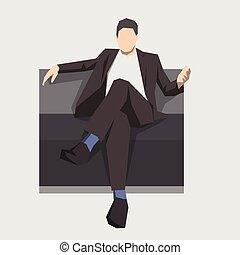 plano, illustration., empresarios, sentado, aislado, sofá, hombre de negocios, geométrico, design.