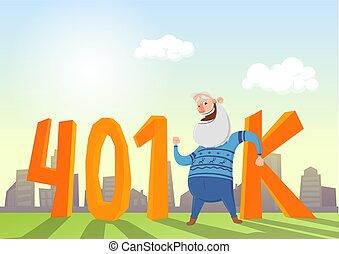 plano, illustration., fron, siglas, cuenta, anciano, 401k, vector, pensión, cityscape., hombre, feliz, retirement., coloreado