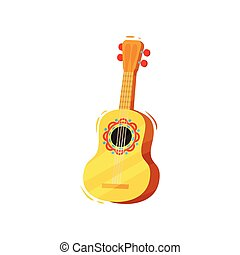 plano, illustration., guitarra, fondo., vector, blanco