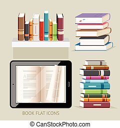 plano, illustration., iconos, set., vector, libro