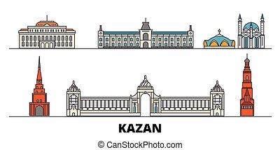 plano, illustration., kazan, ciudad, señales, famoso,...