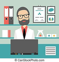 plano, illustration., oficina, doctor, workplace., vector