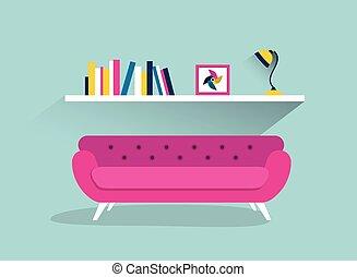 plano, illustration., sofá, estante, libro, diseño, retro,...