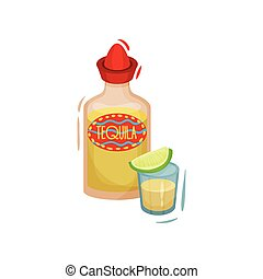 plano, illustration., tequila, fondo., vector, blanco