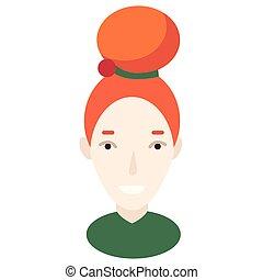 plano, ilustración, bollo de pelo, rojo blanco