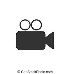 plano, ilustración, cámara, vector, vídeo, icon., design.