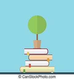 plano, ilustración, de, educaton, concept., libros, con, árbol