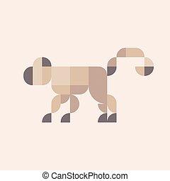 plano, ilustración, mono tití, animal, colores, geométrico, minimalis, diseño