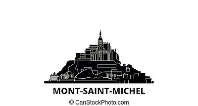 plano, ilustración, mont, viaje, landmarks., bahía, francia,...