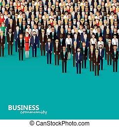 plano, ilustración negocio, community., vector, política, cr...