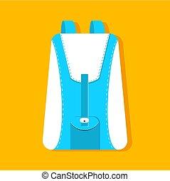 plano, ilustración, schoolbag, vector, diseño, plano de ...