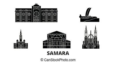plano, ilustración, set., landmarks., samara, contorno,...