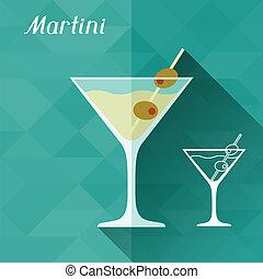 plano, ilustración, style., vidrio, diseño, martini
