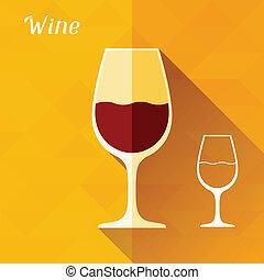 plano, ilustración, vidrio, diseño, style., vino