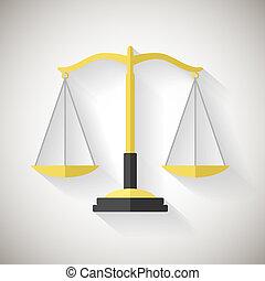 plano, ilustrador, escalas, justicia, símbolo, gris, vector, diseño, plano de fondo, ley, icono