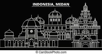 plano, indonesio, silueta, contorno, ciudad, ilustración, ...