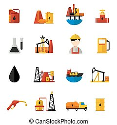 plano, industria, aceite, conjunto, iconos