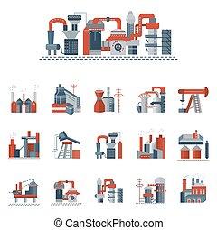 plano, industrial, iconos, color, vector, fábricas