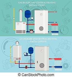 plano, instalaciones, central, conce, calefacción, caldera