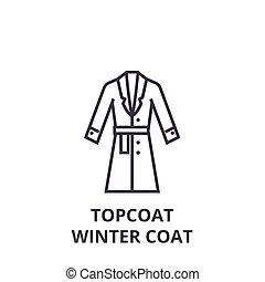 plano, invierno, señal, chamarra, contorno, ilustración, símbolo, vector, icono, línea, abrigoligero, lineal