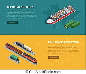 plano, Isométrico, concepto, carga, Ilustración,  on-time, grande, vehículos, carril, marítimo, entrega, entrega,  vector, números, Logístico, envío, llevar, banderas, transporte, Logístico, Diseñado