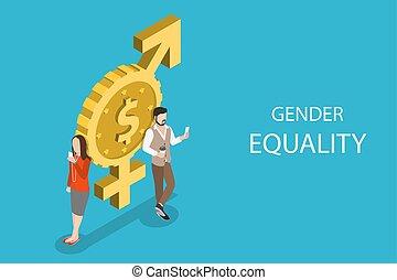plano, isométrico, concepto, igualdad, género, rights., igual, vector, hembra, macho
