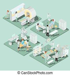 plano, isométrico, conjunto, local, clínica médica, equipo, apropiado, ilustraciones, 3d