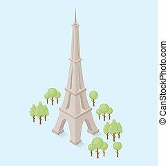 plano, isométrico, vector, 3d, monumento