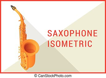 plano, isométrico, vector, saxófono, 3d