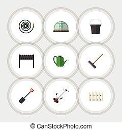 plano, jardín, conjunto, elements., dacha, rastrillo, manga...