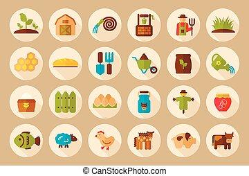 plano, jardín, granja, largo, sombra, icono