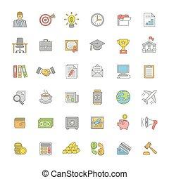 plano, línea fina, color, empresa / negocio, y, finanzas, iconos