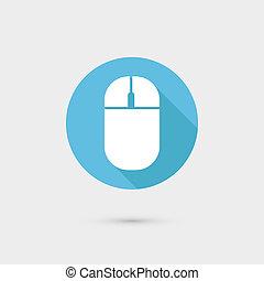 plano, largo, computadora, sombra, ratón, diseño, icono