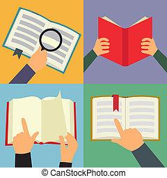 plano, lectura, conjunto, libro, icono