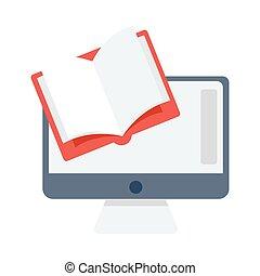 plano, lectura, en línea, icono