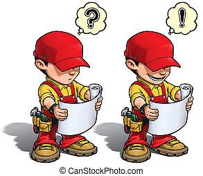 plano, -, leitura, handyman, vermelho