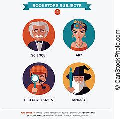 plano, librería, temas, caracteres, iconos