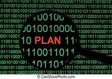 plano, ligado, binário, dat