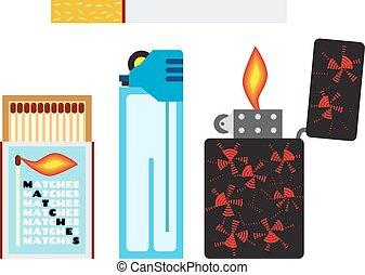 plano, lighters., fósforos, dos, ilustración, cigarrillo, vector, style.